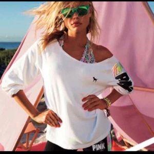 PINK Victoria's Secret Tops - Off shoulder PINK pullover